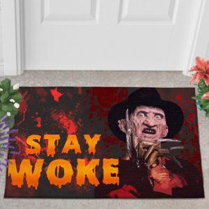 2 Outdoor Door Mat Freddy Stay Woke Horror Halloween Doormat