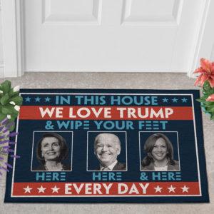 2 Outdoor Door Mat In This House We Love Trump Anti Biden Wipe Feet Here Welcome Doormat