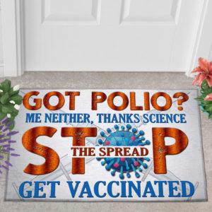 2 Outdoor Door Mat Pro Vaxxer Got Polio Thanks Science Stop The Spread Get Vaccinated Doormat