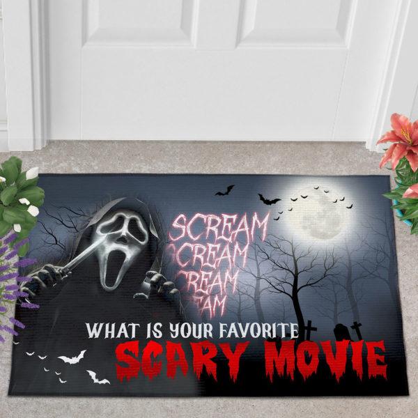 2 Outdoor Door Mat Scream Creepy What Is Your Favorite Scary Movie Halloween Doormat