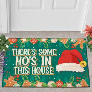 2 Outdoor Door Mat Theres Some Hos in This House Christmas Decoration Santa Hat Doormat