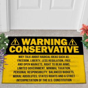 2 Outdoor Door Mat Warning Conservative Funny Political Warning Doormat