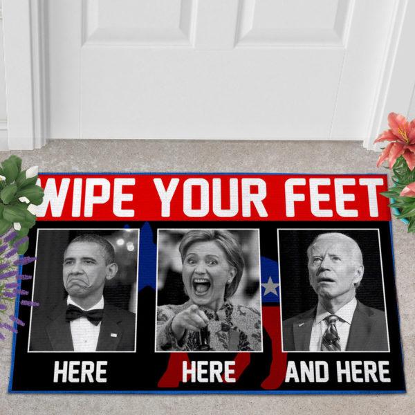 2 Outdoor Door Mat Wipe Your Feet Here Here and Here Funny Obama Kamala Biden Doormat Doormat