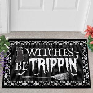 2 Outdoor Door Mat Witches Be Trippin Witches Halloween Doormat