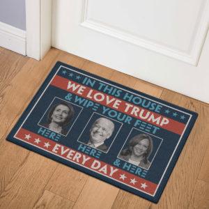 3 Indoor Door Mat In This House We Love Trump Anti Biden Wipe Feet Here Welcome Doormat