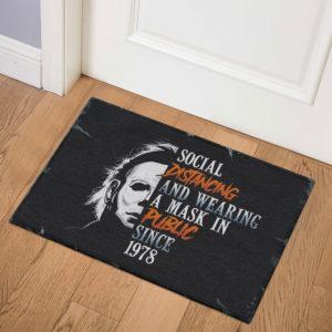 3 Indoor Door Mat Michael Myers Social Distancing And Wearing A Mask In Public Since 1978 Halloween Doormat