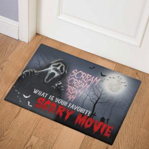 3 Indoor Door Mat Scream Creepy What Is Your Favorite Scary Movie Halloween Doormat