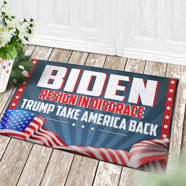 4 Decor Outdoor Doormat Biden Resign In Disgrace Trump Take American Back Outdoor Indoor Doormat