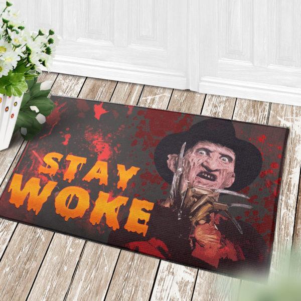 4 Decor Outdoor Doormat Freddy Stay Woke Horror Halloween Doormat