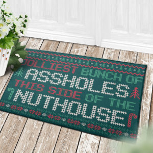 4 Decor Outdoor Doormat Jolliest Bunch Of Assholes This Side Nuthouse Ugly Christmas Doormat