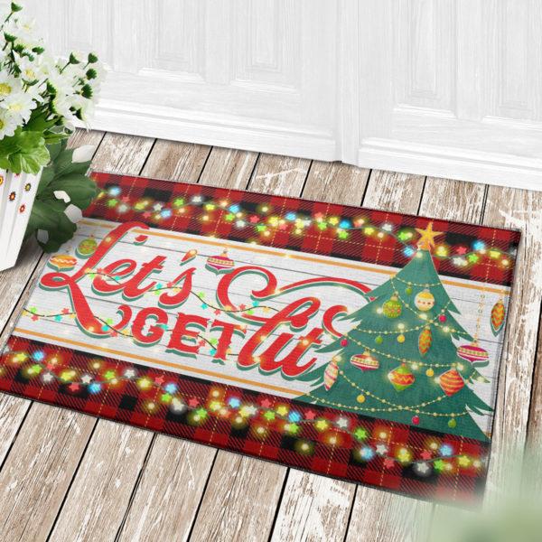 4 Decor Outdoor Doormat Lets Get Lit Funny Christmas Doormat