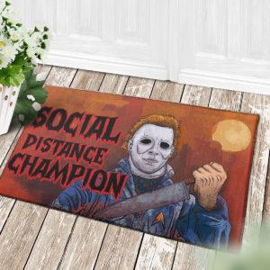 4 Decor Outdoor Doormat Myers Social Distance Champion Serial Killer Halloween Doormat