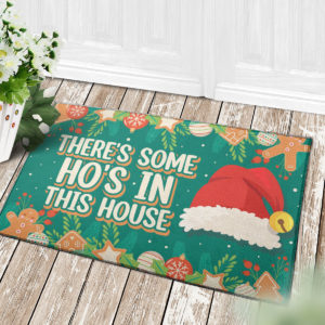4 Decor Outdoor Doormat Theres Some Hos in This House Christmas Decoration Santa Hat Doormat
