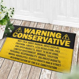 4 Decor Outdoor Doormat Warning Conservative Funny Political Warning Doormat