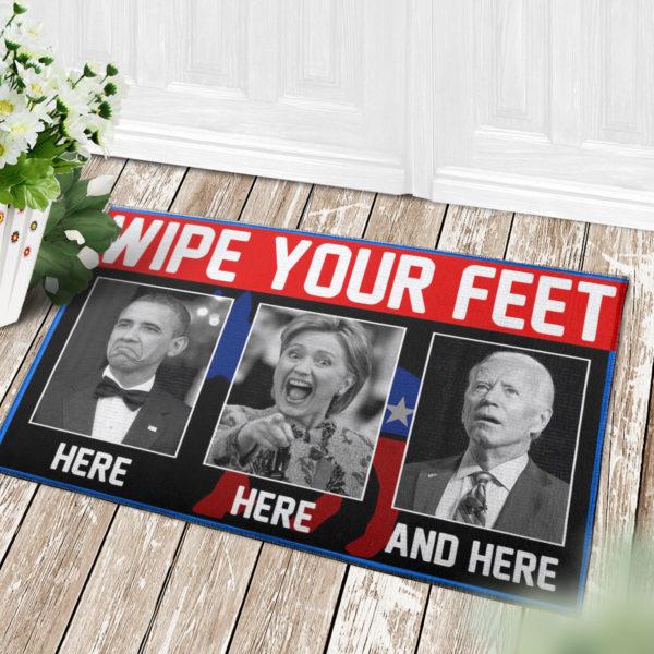 4 Decor Outdoor Doormat Wipe Your Feet Here Here and Here Funny Obama Kamala Biden Doormat Doormat