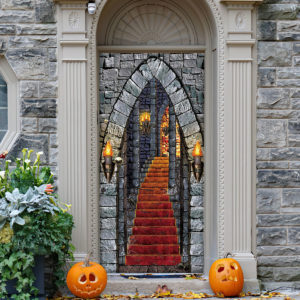 Castle Entrance Halloween Door Cover Decorations for Front Door