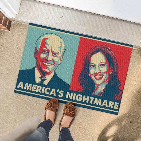 5 Font Door Mat Americas Nightmare Joe Biden Kamala Harris Indoor Doormat