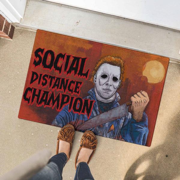 5 Font Door Mat Myers Social Distance Champion Serial Killer Halloween Doormat