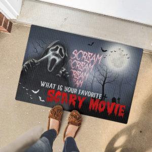 5 Font Door Mat Scream Creepy What Is Your Favorite Scary Movie Halloween Doormat