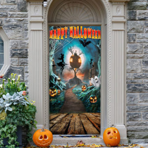 Happy Halloween Halloween Door Cover Decorations for Front Door
