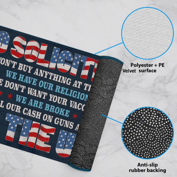 6 Rug No Soliciting We Wont Buy Anything at The Door We Have Our Religion Political Doormat