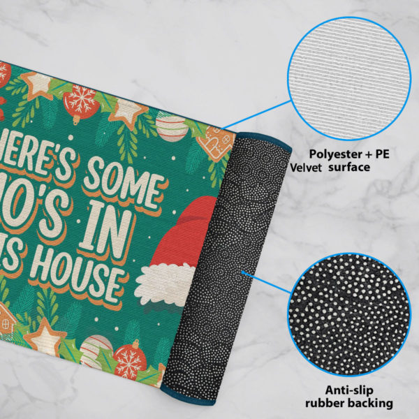 6 Rug Theres Some Hos in This House Christmas Decoration Santa Hat Doormat
