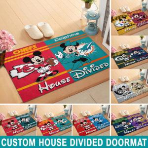Custom House Divided NFL Doormat Mickey And Minnie Football Teams 1