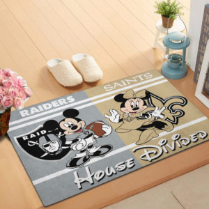 Oakland Raiders vs New Orleans Saints Mickey And Minnie Teams NFL House Divided Doormat