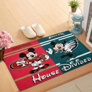 San Francisco 49ers vs Philadelphia Eagles Mickey And Minnie Teams NFL House Divided Doormat