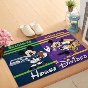 Seattle Seahawks vs Minnesota Vikings Mickey And Minnie Teams NFL House Divided Doormat