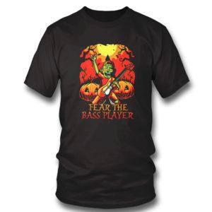 T Shirt Zombie Fear The Bass Player Pumpkin Halloween shirt