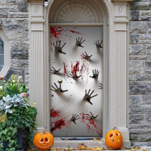 Blood Hands Halloween Door Cover Halloween Door Cover Decorations for Front Door