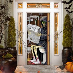 Skeleton on a Toilet Halloween Door Cover Decorations for Front Door