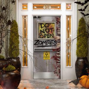 Zombies Lab Do Not Open Halloween Door Cover Decorations for Front Door
