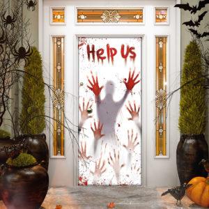 Horror Help Us Halloween Door Cover Decorations for Front Door