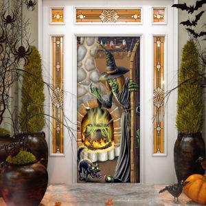 Black Cat Witch Brew Halloween Door Cover Decorations for Front Door