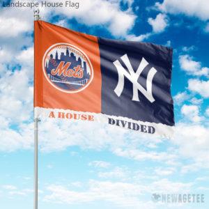New York Mets vs New York Yankees House Divided Garden Flag House Baseball Flag