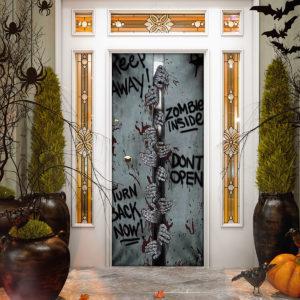 Keep Away Zombie Inside Halloween Door Cover Decorations for Front Door