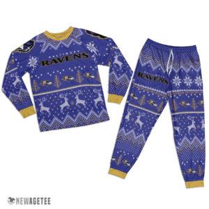 Adult Baltimore Ravens Ugly Pattern Raglan Pajamas Set