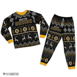 Adult Boston Bruins Ugly Pattern Raglan Pajamas Set
