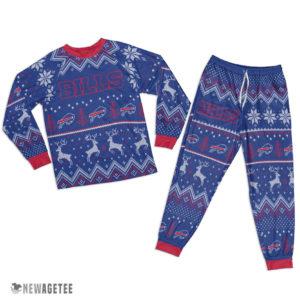 Adult Buffalo Bills Ugly Pattern Raglan Pajamas Set