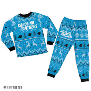 Adult Carolina Panthers Ugly Pattern Raglan Pajamas Set