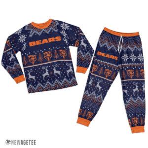 Adult Chicago Bears Ugly Pattern Raglan Pajamas Set
