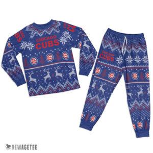 Adult Chicago Cubs Ugly Pattern Raglan Pajamas Set
