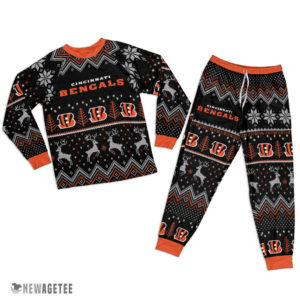 Adult Cincinnati Bengals Ugly Pattern Raglan Pajamas Set