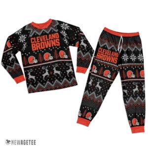 Adult Cleveland Browns Ugly Pattern Raglan Pajamas Set