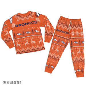 Adult Denver Broncos Ugly Pattern Raglan Pajamas Set