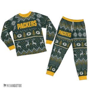Adult Green Bay Packers Ugly Pattern Raglan Pajamas Set