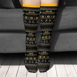 Adult socks Boston Bruins Adult Ugly Christmas Crew Socks
