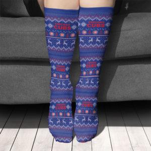 Adult socks Chicago Cubs Adult Ugly Christmas Crew Socks